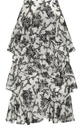 Erdem Simone Tiered Fil Coupe Midi Skirt Off White