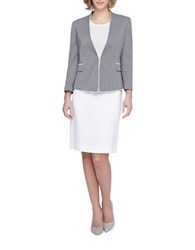Tahari By Arthur S. Levine Plus Piped Frame Striped Jacket Skirt Suit Navy White