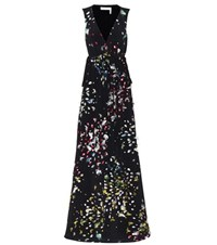 Chloe Fil Coupe Silk Maxi Dress Black