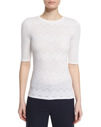 Theory Santea C Terrace Tonal Chevron Print Top Women's Optic White