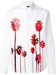 Christian Pellizzari Metallic Palm Tree Shirt Men Cotton 52 White