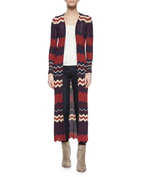 Ronny Kobo Alexi Chevron Stripe Long Cardigan Bordeaux