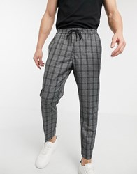 New Look Prince Of Wales Check Smart Joggers In Dark Grey