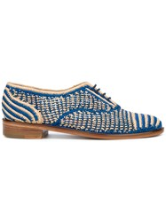 Robert Clergerie Oxford Shoes Women Raffia Leather 37.5 Blue