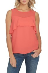 1.State Women's Sheer Yoke Ruffle Tank Poppy Petal