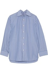 Balenciaga Oversized Striped Cotton Blend Poplin Shirt Blue
