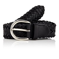Barneys New York Men's Braided Leather Belt Black Blue Black Blue