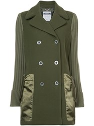 Moschino Double Breasted Pea Coat Viscose Wool Polyimide Green