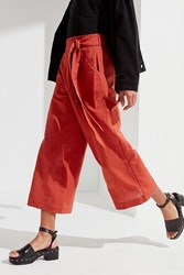 Urban Outfitters Uo Madison Tie Belt Culotte Pant Orange
