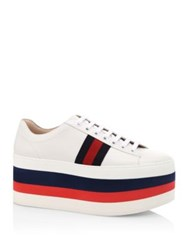 Gucci Peggy Leather Rainbow Platform Sneakers White