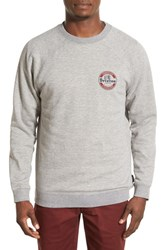 Men's Brixton 'Soto' Graphic Raglan Crewneck Sweatshirt Heather Grey