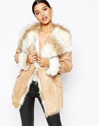 Lipsy Coat With Faux Fur Trim And Lining Stone