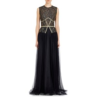 Sophia Kah Lace And Tulle Gown Black Gold