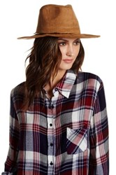 Collection Xiix Faux Suede Panama Feather Hat Brown
