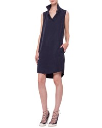 Akris Punto Sleeveless Polo Shift Dress Navy