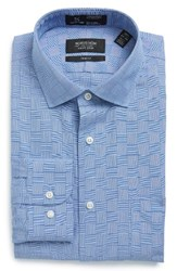 Nordstrom Men's Big And Tall Men's Shop Smartcare Tm Trim Fit Check Dress Shirt Blue Regatta