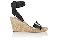 Loeffler Randall Women's Harper Striped Wedge Espadrilles Black White