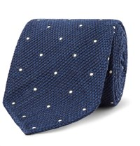 Drakes Drake's 8Cm Pin Dot Wool And Silk Blend Tie Storm Blue
