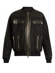 Balmain Leather Panelled Cotton Blend Bomber Jacket Black