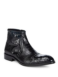 Jo Ghost Almond Toe Leather Ankle Boots Blue