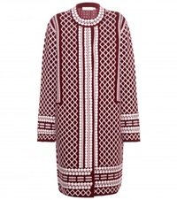 Tory Burch Knitted Wool Blend Coat Red