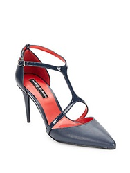 Charles Jourdan Patent Leather And Smooth Leather Y Strap Pumps Navy