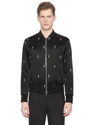 Neil Barrett Flashes Embroidered Satin Bomber Jacket