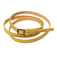 Lowie Yellow Skinny Leather Belt