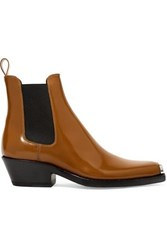 Calvin Klein 205W39nyc Western Claire Metal Trimmed Patent Leather Ankle Boots Tan