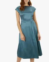 Jaeger Tuck Detail Fit And Flare Dress Green
