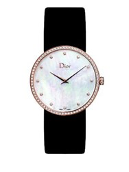Christian Dior La D De Dior Diamond Rose Goldtone Stainless Steel And Satin Strap Watch Black Rose Gold