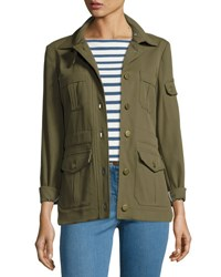 Veronica Beard Camp Ponte Utility Jacket Olive