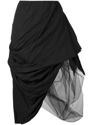 Nostra Santissima Asymmetric Layered Skirt Women Cotton Tencel 44 Black