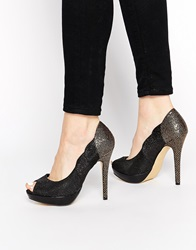 Little Mistress Platform Peep Toe Court Shoes Black