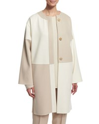 Shamask Long Sleeve Button Front Kimono Coat Ivory Tan