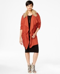 Bar Iii Faux Fur Trim Draped Jacket Only At Macy's Fireside