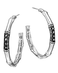 John Hardy Bamboo Silver Lava Medium Hoop Earrings With Black Sapphires Silver Black