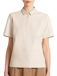 Lafayette 148 New York Leather Blouse Oyster