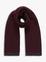 Brora Cashmere Ribbed Scarf Oxblood Peat