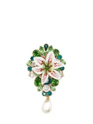 Dolce And Gabbana Crystal Embellished Lily Pearl Brooch Gold