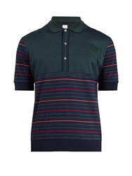 Paul Smith Striped Cotton Knit Polo Shirt Green Multi