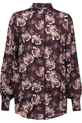 Mother Of Pearl Temple Floral Print Silk Crepe De Chine Blouse Multi