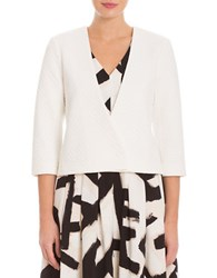 Nic Zoe Basketweave Asymmetrical Button Front Jacket White