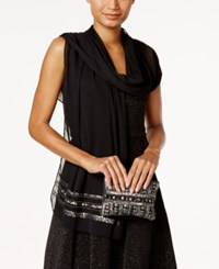 Vince Camuto Embellished Evening Wrap And Clutch Black Gunmetal
