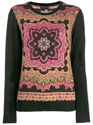 Etro Embroidered Fitted Sweater Black