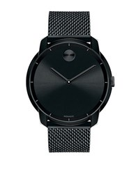 Movado Mens Bold Black Plated Watch With Mesh Steel Bracelet