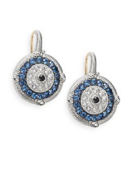 Judith Ripka Lucky Blue White And Black Sapphire Evil Eye Earrings Silver Blue