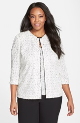 Alex Evenings Jacquard Knit Twinset With Beaded Clasp Plus Size White Black