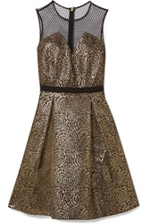 Draper James Kara Pleated Metallic Jacquard And Swiss Dot Tulle Dress Black