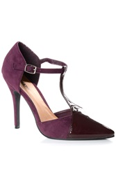 Alice And You T Bar Strap Contrast Heels Plum